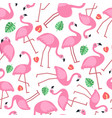 seamless pattern with pictures of pink flamingo vector image vector image