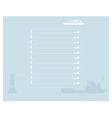 Sheet of notebook with a ship and lighthouse vector image