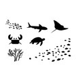 silhouette fishstingray crab turtle coral vector image vector image