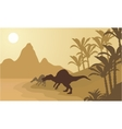 Spinosaurus in river silhouette scenery vector image vector image