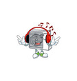 split air conditioner listening music on a headset vector image vector image