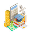 student loan rates concept isometric vector image