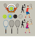 tennis player and graphic elements vector image