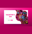 valentine day neon landing page vector image