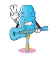 with guitar feather duster character cartoon vector image vector image