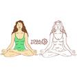 Woman sitting on lotus yoga pose vector image