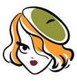 woman wearing green beret hat basic rgb on white vector image vector image