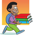 Cartoon Boy Carrying Books vector image