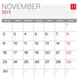 2015 November calendar page vector image