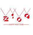 2019 happy new year written hanging with string vector image vector image