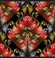 3d embroidery baroque seamless pattern vector image