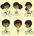african american school girls on the bikes vector image