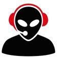 Alien Call Center Flat Icon vector image vector image
