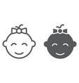 baby girl line and glyph icon kid and child vector image vector image