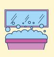 bathtub mirror foam bubbles bathroom vector image vector image