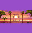 beach wedding ceremony with floral arch at sunset vector image vector image