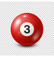 billiardred pool ball with number 3snooker vector image vector image