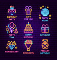 birthday neon label set vector image vector image