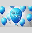 blue balloons with an inscription big sale twenty vector image vector image
