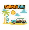 cartoon beach with car vector image