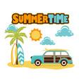 Cartoon beach with car