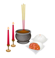 Chinese Nikuman with Candle and Joss Stick vector image vector image