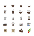 Coffee and Drink Flat Color Icons vector image