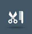 comb hair with scissors sign icon on white vector image vector image