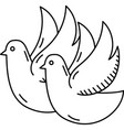 couple pigeon icon doddle hand drawn or black vector image