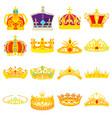 crown royal icons set cartoon style vector image
