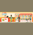 customers people queue at cash desk with cashier vector image vector image