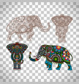 decorated elephant on transparent background vector image vector image
