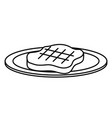 dish with cut beef meat icon vector image vector image