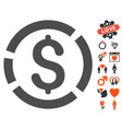 dollar diagram icon with valentine bonus vector image vector image