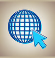 earth globe with cursor sky blue icon vector image vector image