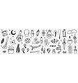 esoteric witchcraft attributes doodle set vector image