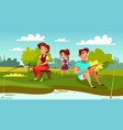 family fishing cartoon vector image