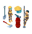 fire station items isometric firefighters smoke vector image