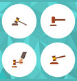 flat icon lawyer set of court hammer defense and vector image vector image