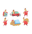 funny rich millionaire in different situations set vector image vector image