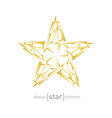 futuristic gold abstract star on white background vector image