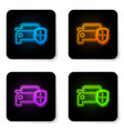 glowing neon car protection or insurance icon vector image