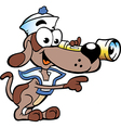 Hand-drawn of an Happy Sailor Watch Dog vector image