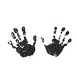 hand print set isolated on white background black vector image