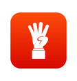 hand showing number four icon digital red vector image vector image