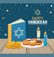 hanukkah book with breads and cookies celebration vector image