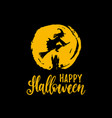 happy halloween lettering with witch vector image vector image