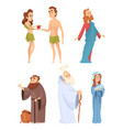 historical characters of bible mascots vector image vector image