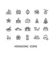 hong kong sign thin line icon set vector image