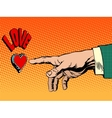 Love romance hand presses button vector image